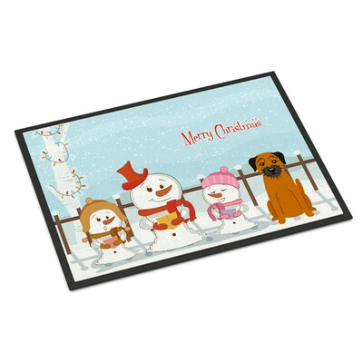 Merry Christmas Carolers Border Terrier Doormat Rug Size: Rectangle 16 x 23