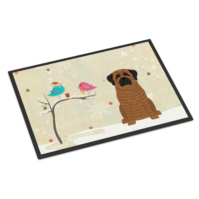 Christmas Presents Between Friends Mastiff Doormat Rug Size: 16 x 23, Color: Brindle