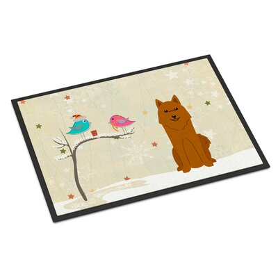 Christmas Presents Between Friends Karelian Bear Dog Doormat Rug Size: Rectangle 16 x 23