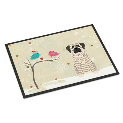 Christmas Presents Between Friends Mastiff Doormat Mat Size: Rectangle 16 x 23, Color: Brindle/White