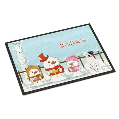 Merry Christmas Carolers Boxer Cooper Doormat Rug Size: Rectangle 16 x 23
