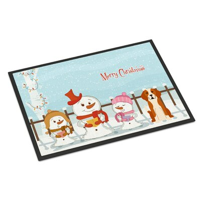 Merry Christmas Carolers English Foxhound Doormat Mat Size: Rectangle 16 x 23