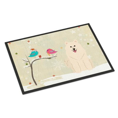 Christmas Presents Between Friends Samoyed Doormat Rug Size: 16 x 23