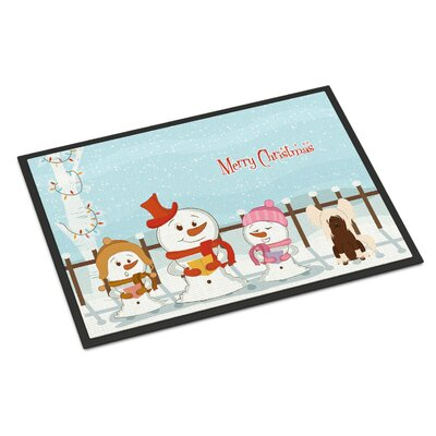 Merry Christmas Carolers Chinese Crested Doormat Mat Size: Rectangle 16 x 23, Color: Cream