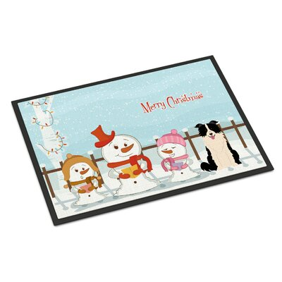 Merry Christmas Carolers Border Collie Doormat Mat Size: Rectangle 2 x 3, Color: Black/White