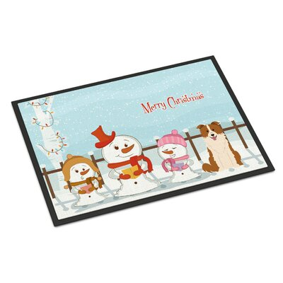 Merry Christmas Carolers Border Collie Doormat Rug Size: Rectangle 2 x 3, Color: Red/White