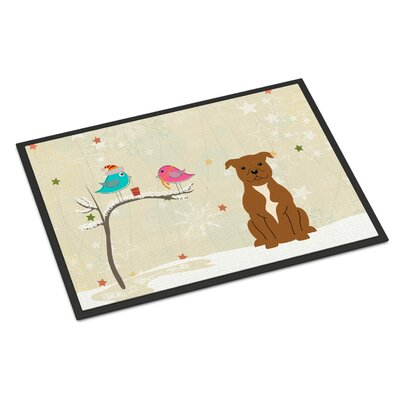 Christmas Presents Between Friends Stafford Shire Bull Terrier Doormat Color: Brown, Rug Size: 16 x 23