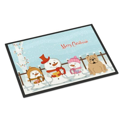 Merry Christmas Carolers English Bulldog Doormat Color: Fawn, Rug Size: 2 x 3