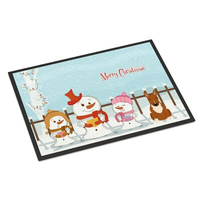 Merry Christmas Carolers Bull Terrier Doormat Mat Size: Rectangle 16 x 23