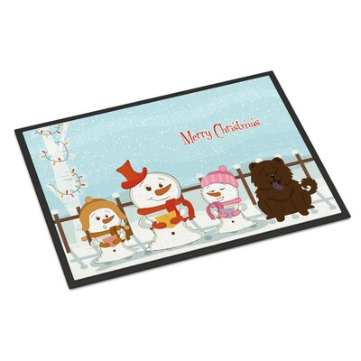 Merry Christmas Carolers Chow Chow Doormat Rug Size: 16 x 23, Color: Chocolate