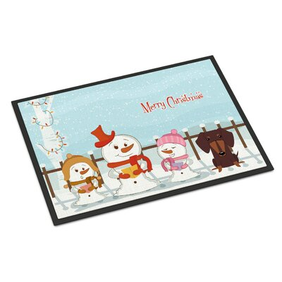 Merry Christmas Carolers Dachshund Doormat Mat Size: Rectangle 16 x 23