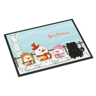 Merry Christmas Carolers Chow Chow Doormat Rug Size: Rectangle 16 x 23, Color: Black