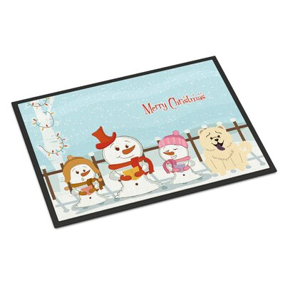 Merry Christmas Carolers Chow Chow Doormat Mat Size: Rectangle 16 x 23, Color: White