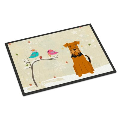Christmas Presents Between Friends Airedale Doormat Rug Size: Rectangle 16 x 23