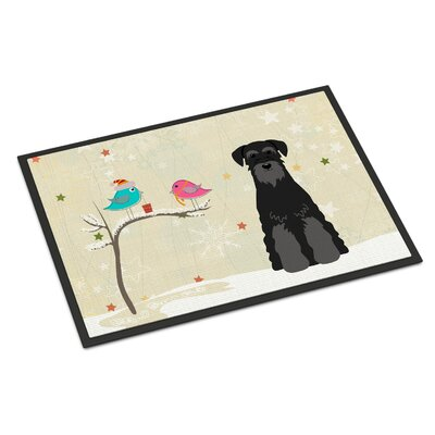 Christmas Presents Between Friends Standard Schnauzer Doormat Rug Size: Rectangle 2 x 3, Color: Black
