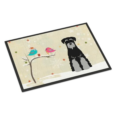 Christmas Presents Between Friends Standard Schnauzer Doormat Mat Size: Rectangle 16 x 23, Color: Black/Gray