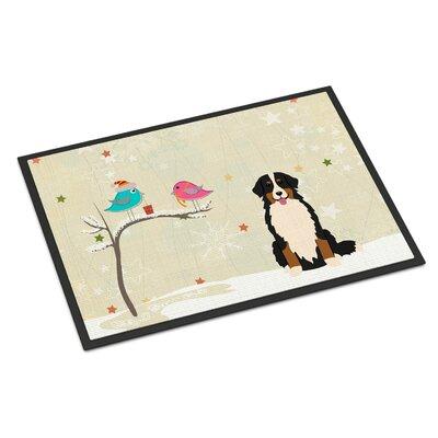 Christmas Presents Between Friends Bernese Mountain Dog Doormat Mat Size: Rectangle 16 x 23
