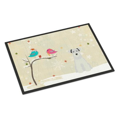 Christmas Presents Between Friends Miniature Schnauzer Doormat Mat Size: Rectangle 16 x 23, Color: White