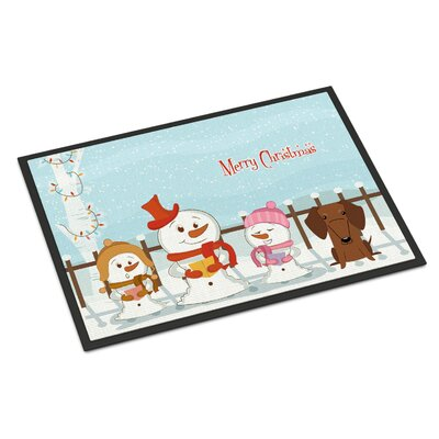 Merry Christmas Carolers Dachshund Doormat Rug Size: Rectangle 16 x 23