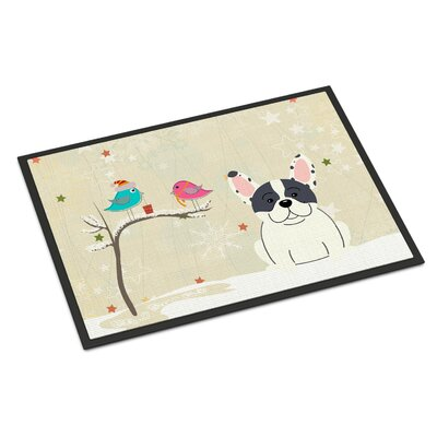 Christmas Presents Between Friends French Bulldog Piebald Doormat Mat Size: Rectangle 16 x 23