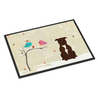 Christmas Presents Between Friends Stafford Shire Bull Terrier Doormat Mat Size: Rectangle 2 x 3, Color: Chocolate