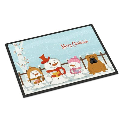 Merry Christmas Carolers English Bulldog Doormat Rug Size: Rectangle 16 x 23