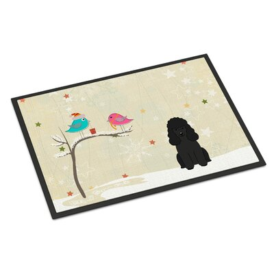Christmas Presents Between Friends Poodle Doormat Mat Size: Rectangle 16 x 23, Color: Black