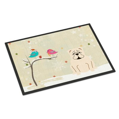 Christmas Presents Between Friends English Bulldog Doormat Rug Size: 2 x 3, Color: White