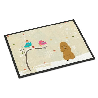 Christmas Presents Between Friends Poodle Doormat Mat Size: Rectangle 2 x 3, Color: Tan