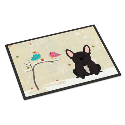 Christmas Presents Between Friends French Bulldog Doormat Mat Size: Rectangle 16 x 23