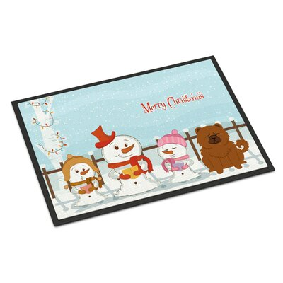Merry Christmas Carolers Chow Chow Doormat Mat Size: Rectangle 16 x 23, Color: Red