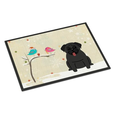 Christmas Presents Between Friends Pug Doormat Mat Size: Rectangle 2 x 3, Color: Black