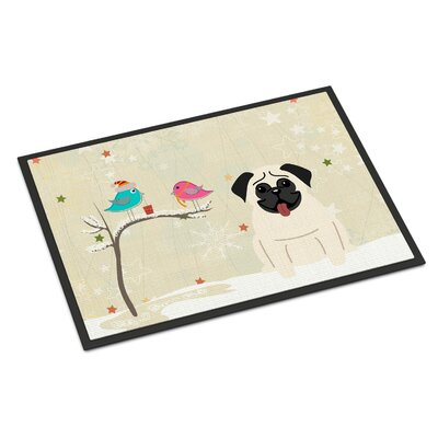Christmas Presents Between Friends Pug Doormat Rug Size: 2 x 3, Color: Cream