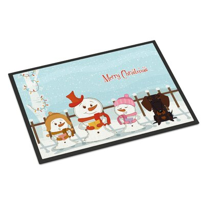 Merry Christmas Carolers Wire Haired Dachshund Doormat Mat Size: Rectangle 16 x 23