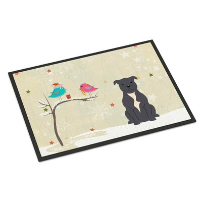 Christmas Presents Between Friends Stafford Shire Bull Terrier Doormat Rug Size: Rectangle 16 x 23, Color: Blue