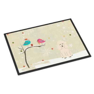 Christmas Presents Between Friends Poodle Doormat Mat Size: Rectangle 2 x 3, Color: White