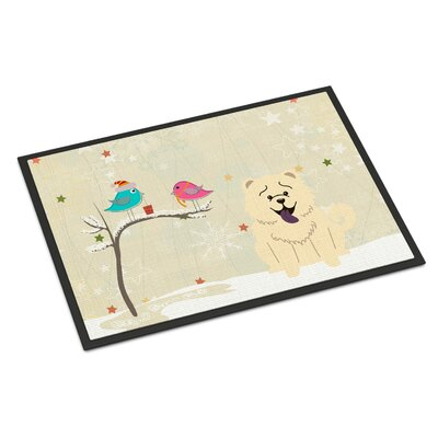 Christmas Presents Between Friends Chow Chow Doormat Color: White, Rug Size: 2 x 3