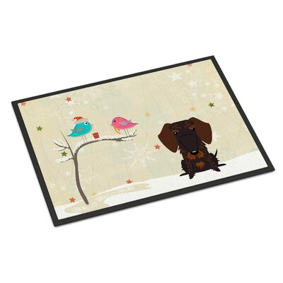 Christmas Presents Between Friends Wire Haired Dachshund Doormat Rug Size: 16 x 23