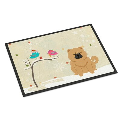 Christmas Presents Between Friends Chow Chow Doormat Rug Size: 2 x 3, Color: Cream