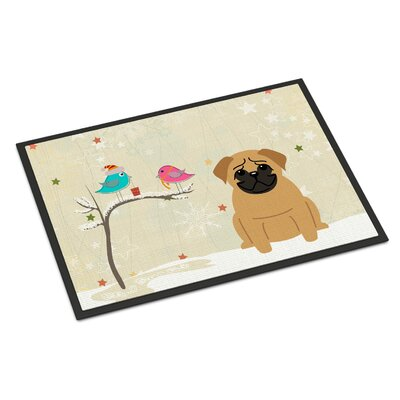 Christmas Presents Between Friends Pug Doormat Rug Size: 2 x 3, Color: Brown