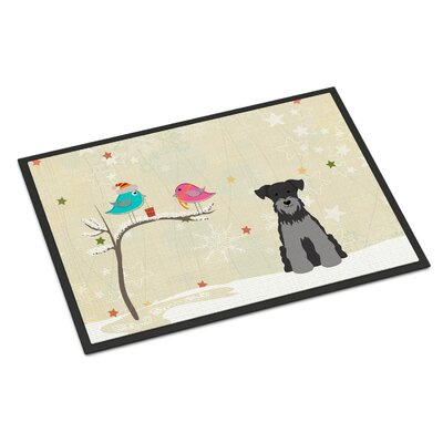 Christmas Presents Between Friends Miniature Schnauzer Doormat Rug Size: Rectangle 16 x 23, Color: Black/Silver