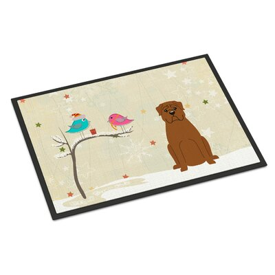 Christmas Presents Between Friends Dogue De Bourdeaux Doormat Rug Size: 16 x 23