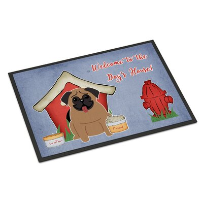 Dog House Pug Doormat Mat Size: Rectangle 2 x 3, Color: Brown