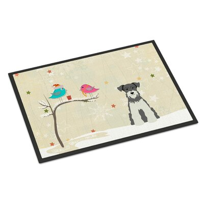 Christmas Presents Between Friends Miniature Schnauzer Doormat Rug Size: 16 x 23, Color: Salt/Papper