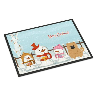 Merry Christmas Carolers Chow Chow Doormat Rug Size: Rectangle 2 x 3, Color: Cream