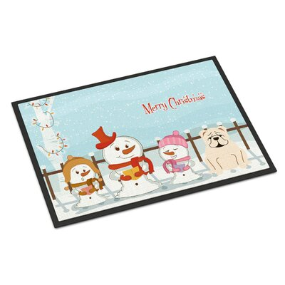 Merry Christmas Carolers English Bulldog Doormat Rug Size: 16 x 23, Color: White