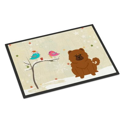 Christmas Presents Between Friends Chow Chow Doormat Mat Size: Rectangle 2 x 3, Color: Red