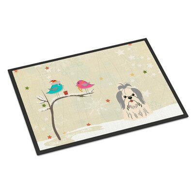 Christmas Presents Between Friends Shih Tzu Doormat Mat Size: Rectangle 2 x 3, Color: Silver/White