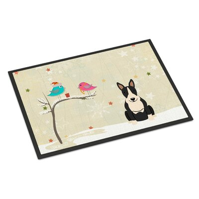 Christmas Presents Between Friends Bull Terrier Doormat Rug Size: 16 x 23