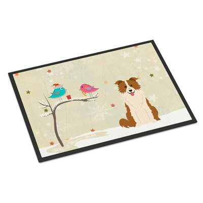 Christmas Presents Between Friends Border Collie Doormat Color: Red/White, Rug Size: 16 x 23